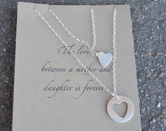 Mother-Daughter Sterling Silver Heart Necklace Set- Mother's Day, Mom birthday, Graduation, Christmas, stocking stuffer