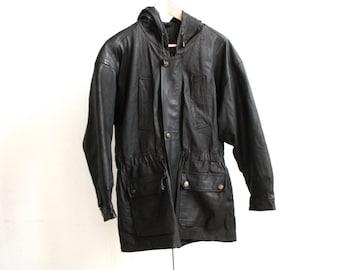 90s LEATHER PARKA biker northwest TRENCH toggle jacket coat