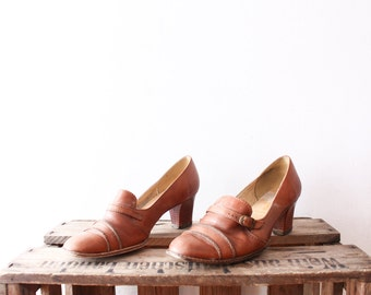 SALE___Vintage 1970s Brown Womens Leather Heels Shoes