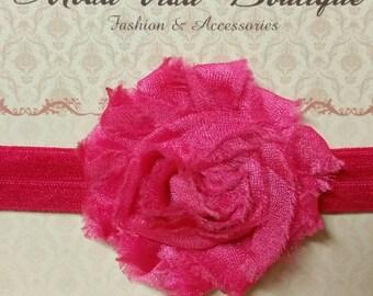 Hot Pink Rosette Headband for Newborn