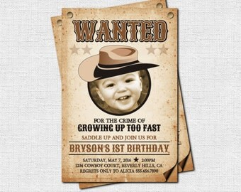 WESTERN INVITATIONS Cowboy/Cowgirl Wanted Poster Style - Birthday Party (print your own) Personalized Printable File