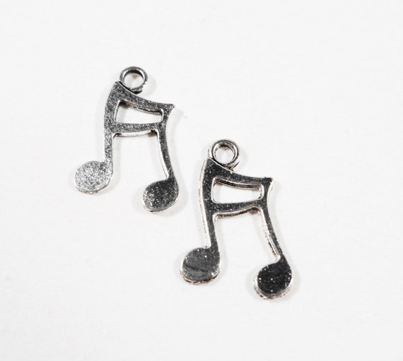 Silver Music Note Charms 15x11mm Antique Silver Metal Melody Charm Small Musical Note Charms Music Note Pendant Jewelry Making Supplies 12pc