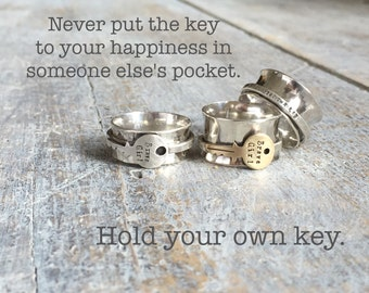 Hold Your Own Key Brave Girl Spinner Ring by ShesSoWitte