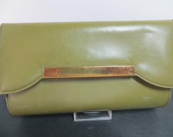 Vintage Olive Green Clutch Bag