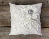 Georgia handamde ring bearer pillow, organza and lace with rhinestone brooch