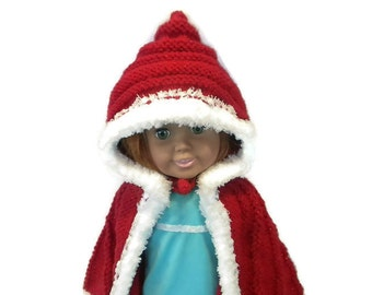 Hooded Cape Hand Knit in Red Glitter Yarn and Fleece for 18 inch doll