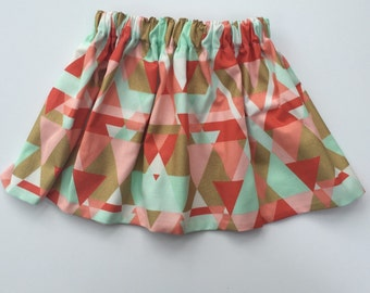Coral, Mint and Gold Baby Skirt...Coral, mint and gold Triangle Toddler Skirt... Modern Baby Skirt.. Modern Toddler Skirt... Coral skirt