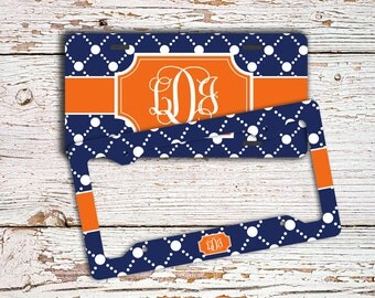 Preppy Monogrammed license plate , Navy pattern with orange , Monogram personalized front car tag, Vanity plate initials bike plate  (1004)