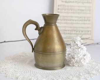 Vintage Brass Vase, Brass Urn or Vessel with Handle, Brass Jug, Brass Mug, Made in England