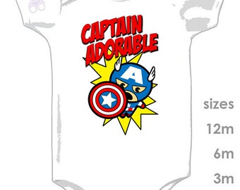 Captain Adorable - Captain America Cute and Funny Onesie for your Little one - Captain America Hulk Ironman Thor
