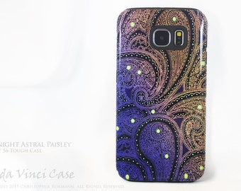 Purple Paisley Galaxy S6 Case - TOUGH dual layer S 6 Case - Midnight Astral Paisley