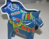 Vintage hand painted Dala Horse with bonus Dala bowl