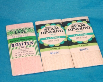 Vintage Set of 3 -  Stretch Lace Seam Binding - 2 Packages White, 1 Package Light Pink - Brand New in Package - Destash