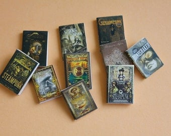 Dollhouse miniature steampunk books
