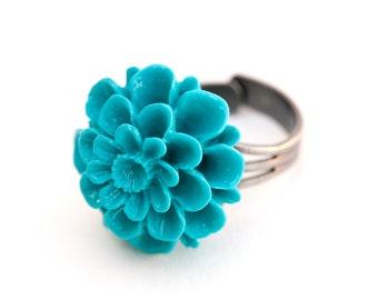 BoHo Turquoise Flower Adjustable Silver Ring, Flower Ring, BoHo Ring, Silver Ring, Turquoise, Flower, Formal, Prom Ring, BoHo Style 284