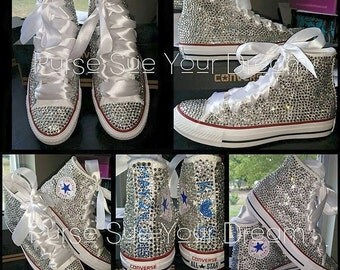 Custom Crystal Rhinestone Hi Top Converse Shoes - Wedding Shoes - Swarovski Crystal Shoes