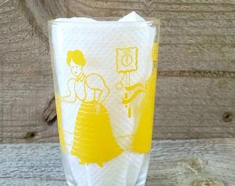 Swanky Swig Kraft Cheese Bustling Betsy Yellow Juice Glass 1953