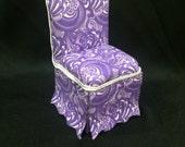Shabby Chic Parsons Chair in Purple w Swirls - Dollhouse Miniature