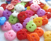 12mm Acrylic Apple Shape Buttons Mixed Colours Pack of 30 Small Apple Buttons A161