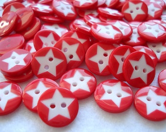 15mm Buttons Red and White Star Christmas Buttons Pack of 25 Red Buttons A158