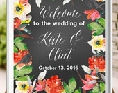 Printable Chalkboard Wedding Sign-Calligraphy Floral Welcome to the Wedding Digital Sign from paper and palette