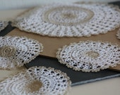 Doily Set Vintage 9 Pieces Cotton Indian Doilies Beige White Round Oval Home Decor Handcrafted Andhra Pradesh Crochet India