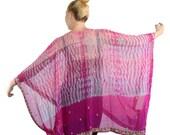 Silk Jacket, Pink Silk Kimono, Boho Kimono, Coverup, Gypsy Jacket, Caftan, Kaftan, Handmade Bohemian Jacket, Festival Top, Loose Flowing Top
