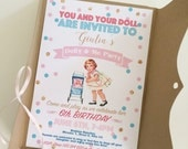 Doll Vintage Invitation file - with printable envelope - PDF