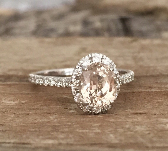 Oval Peach Champagne Sapphire Diamond Halo Engagement Ring In