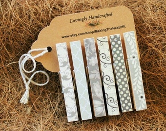 Wedding Decoration, Magnet Clothespins, Gray and Black, Set of 6 Standard Size