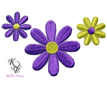 3 Pieces Embroidered Flower Applique, Flower Iron On Patch, Flower Patch, Embroidered Iron On, Iron On Patch, Yellow Flower, Flower Applique