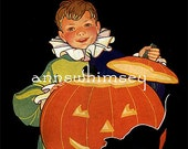 "Halloween Restored Antique Art Print, ""Little Boy, Ready for Halloween"", Fun Halloween Decoration  #219"