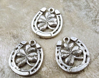 3 Pewter Lucky Horseshoe with Four Leaf Clover Charms - 5471