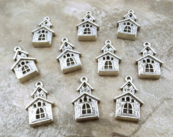 10 Pewter Church or Wedding Chapel Charms - 5375