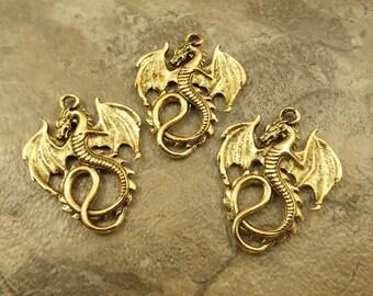 3 Gold Tone Pewter DRAGON Pendants - 5229
