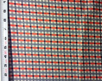 """Vintage 1930s/40s Cotton Fabric 36"""" Wide~Red White Navy Plaid*Quilting*Crafting*1/2 YD Increments"""