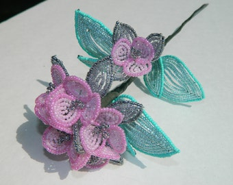 Pink, Gray, and Mint Hydrangea Inspired French Beaded Flower