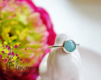 silver gemstone ring amazonite