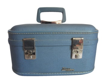 Vintage Trojan Blue Train Case -  70s Suitcase Small Luggage - Retro Travel Burlesque Pin Up Art Case - Hardside Makeup Cosmetic Case