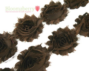 "2.5"" Shabby Rose Trim- Dark Brown - Chiffon Trim - Summer/Fall/Winter - Brown Chiffon Flowers- Brown Shabby Rose-Hair Accessories Supplies"
