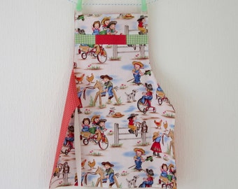Girls Apron - Reversible - Cowgirl and Bumble Bee