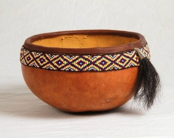 Decorative beaded gourd bowl