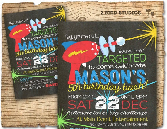 Laser tag birthday party invitation Laser tag invitations for