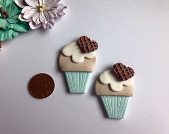 Large clay Flat Back cupcake embellishments deco you choose colour case x