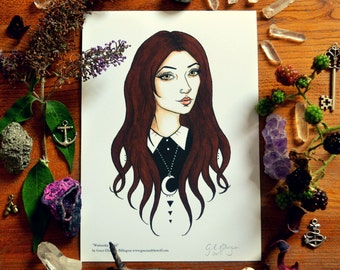 """SALE Giclee Art Print, """"Wednesdays Child"""" by Grace and the Wolf, A5 Somerset Photo 300gsm, original drawing"""