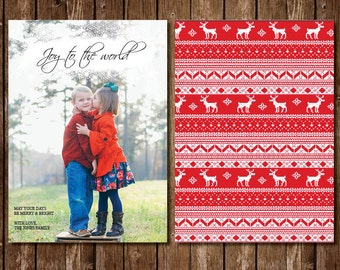 Joy To The World Photo Christmas Card with Snowflakes and Red Knit Sweater Background