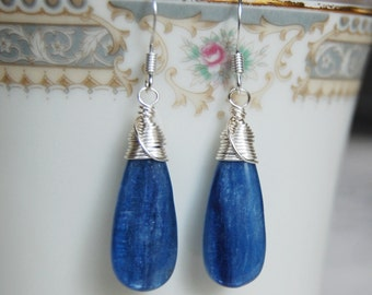 Kyanite Earrings , Gemstone Earrings , Blue Silver Earrings , Wire Wrapped Dangle Earrings