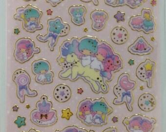 Sanrio Original Little Twin Stars Kiki and Lala Glittered Stickers Gold Frame  (320668)