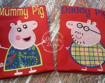 Peppa Pig Family Mummy Pig Birthday Custom Tee Shirt - Customizable -   Adults 166