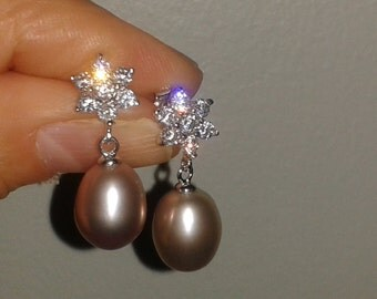 Bridal Collection-Purple Freshwater Pearl and CZ drop earrings(genuine pearl  9-10 mm)